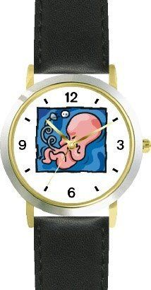 Baby Embryo - WATCHBUDDY® DELUXE TWO-TONE THEME WATCH - Arabic Numbers - Black Leather Strap-Size-Children's Size-Small ( Boy's Size & Girl's Size ) WatchBuddy. $49.95