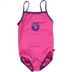 Swimsuit, pink with purple apple, Smafolk