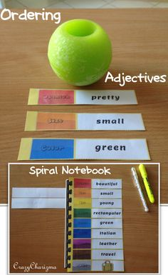 Ordering Adjectives Spiral. The packet contains 40 pages, use in 4 different interactive ways: as a spiral notebook; choose the appropriate adjective(s) for the noun; find opposites to adjectives; as a category match. The packet can be used with ESL / EFL students. Also suitable for grades 4-6 during ELA lessons (L.4.1.d). $ #crazycharizma