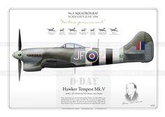 Hawker Tempest Mk.V No.3 SQN RAF  IK-109 Air Force Aircraft, Ww2 Aircraft, Fighter Aircraft, Military Aircraft, Fighter Pilot, Fighter Jets, Westland Whirlwind, Hawker Tempest, Hawker Typhoon