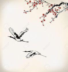 22243099-winter-sweet-frame-Stock-Vector-crane-cherry-japanese.jpg (1220×1300)