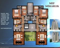 Kat planları Condo Floor Plans, Hotel Floor Plan, Apartment Floor Plans, Residential Building Plan, Classic House Exterior, Luxury House Plans, Architecture Plan, Plan Design, My Dream Home