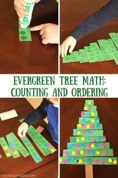 Evergreen Tree Math Counting and Ordering Activity. Work on counting, 1:1 correspondence, ordering big to small and fine motor skills.