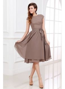 486a41b7d839 Brown Tea Length Short Mother of Groom Dress with Short Sleeves (Free  Shipping). Mothers DressesSummer ...