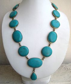 Turquoise Beaded Necklace/ Bohemian Necklace / Statement Necklace / Bib Necklace - Beaded Jewelry