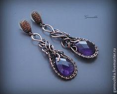 Медные серьги с аметистами - тёмно-фиолетовый,wire wrap,серьги,плетеные серьги