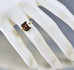 Vintage Gold Diamond Smoky Quartz Topaz Ring   #Topaz #Vintage #Smoky #Yellow #intage #Quartz #Gold #Diamond #Ring #Fantastic