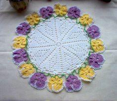 ༺✿ •✿• ✿༻ Toalhinha Amor-Perfeito de Crochê Padrão Colorida Clássica -  / ༺✿ •✿• ✿༻ Washcloth Kiss-Me-Quickin to Crochet Hooks  Default Vintage  Multi Color -