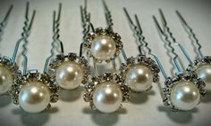 sophisticated rhinestone and pearl hair pins