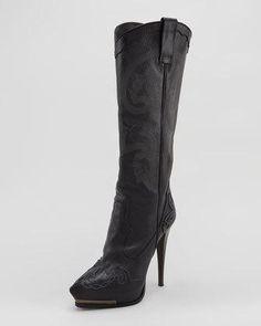 Women's Lanvin High-Heel Cowboy Boot, Black