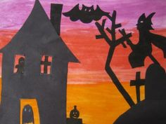 Positive and Negative Haunted House Tarot, 2nd Grade Writing, Park Art, Positive And Negative, Black Paper, Halloween Art, Art Pages, Art Google, Superhero Logos