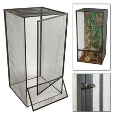 The Zoo Med ReptiBreeze is an open air aluminum screen cage, great for small Old World Chameleons, Juvenile Green Iguanas and other arboreal species of lizards.