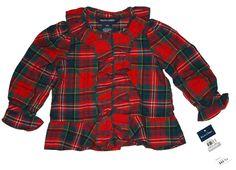Ralph Lauren Baby Girls Plaid Blouse Tartan Ruffle Long Sleeves Holiday12 M #RalphLauren #DressyEverydayHoliday
