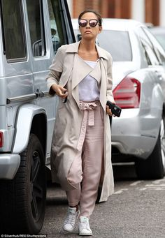 Myleene Klass steps out in cream duster coat and rose gold trousers b620a8a7f