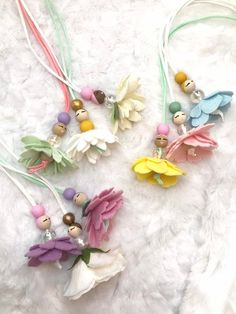 Fairy Necklace, Flower Necklace, Dance Recital Gift, Ballerina Necklace … - Basket and Crate Fairy Crafts, Felt Crafts, Easter Gift Baskets, Basket Gift, Dance Recital, Flower Fairies, Fairy Dolls, Best Friend Gifts, Flower Necklace