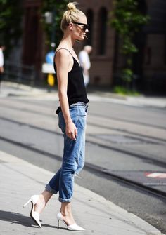top knot, cami, boyfriend jeans & white d'orsay pumps #style #fashion