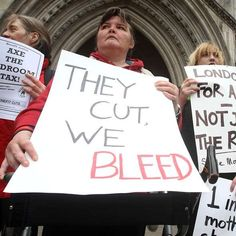 BRITAIN - DISABLED CHALLENGE   'bedroom tax'       --          Human rights lawyers say that, unless the families move from their homes into smaller properties, they face building up rent arrears and being forced out any way. Ten cases have been brought before London's High Court which are said to illustrate the serious impact of the regulations on disabled people up and down the country.