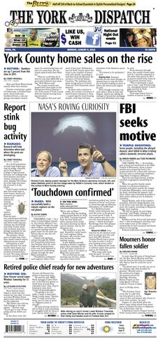 York Dispatch front page for Aug. 6, 2012