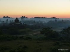 Dusk view of Htukkanthein  temple from hill just to the north of Ratanabon Paya