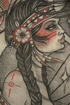 Native American girl tattoo sketch