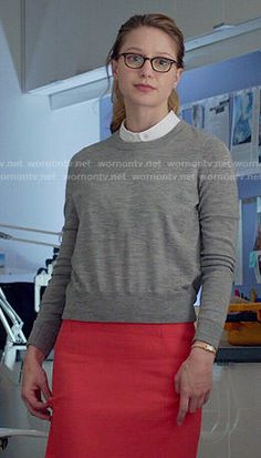 Kara's grey sweater and red pencil skirt on Supergirl.  Outfit Details: http://wornontv.net/53303/ #Supergirl