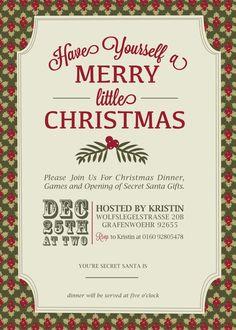 Christmas InvitationDigital File by KLacapra on Etsy, $15.00
