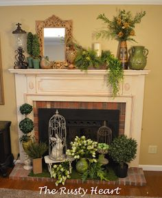 Rusty Heart Designs: how to decorating a spring mantel