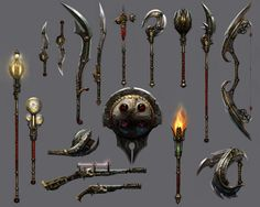 Guild wars props and weapons Sci Fi Weapons, Weapon Concept Art, Weapons Guns, Fantasy Weapons, Prop Design, Game Design, Design Ideas, Guild Wars 2, Medieval Fantasy