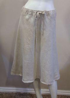 Coldwater-Creek-Medium-10-12-Beige-Linen-A-Line-Knee-Length-Casual-Skirt