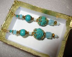 Check out Luxurious OOAK GENUINE Carved Vintage TURQUOISE w/Brass, Swarovski Crystals & Vermeil Dangle/Drop Pierced Earrings  - Estate Find! on theunitgal