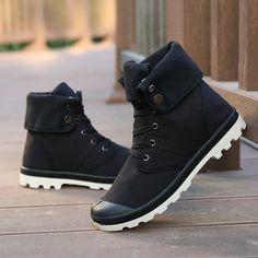 e0e39de3e R$ 101.72 42% de desconto Merkmak Outono Inverno Homens Botas De Lona Estilo  de Moda de Alta top Ankle Boots Militares de Combate Do Exército dos homens  ...