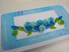 blue flower quilling card