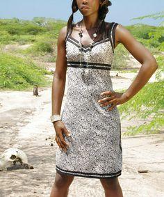 Look what I found on #zulily! Black and White Empire Waist Dress #zulilyfinds