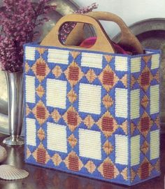 Quilt+Pattern+Purse+Plastic+Canvas+Needlepoint+Kit
