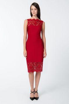Pintuck Jersey Boatneck Dress with Sheer Lace Detail in Deep Red | Tadashi Shoji