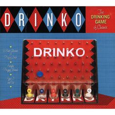 Drinko Drinking Game: The drinking game of chance! Each player chooses a colored shot glass and matching playing chip, then places their glass at the bottom of the game board.  http://www.calendars.com/Pub-Games/Drinko-Drinking-Game/prod201100009613/?categoryId=cat430046=cat430046#