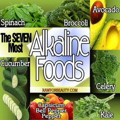 the 7 most alkaline foods.   Aim for an 80% alkaline 20% acidic diet - it's what your digestive system is designed to process. RE: Kimberly Snyder, CN