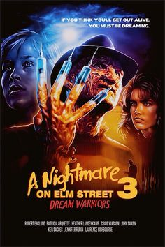 """""""A Nightmare on Elm Street 3: Dream Warriors"""" is an American slasher film directed by Chuck Russell. The film was written by original creator Wes Craven and stars Robert Englund as Freddy Krueger, Heather Langenkamp, Craig Wasson, and Patricia Arquette in her debut role. The plot focuses on Freddy Krueger seeking to murder the last children from the parents that burned him in which are imprisoned at a mental hospital, unbeknownst to him that the patients are beginning to learn about their…"""