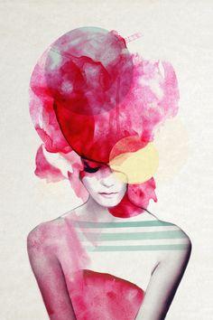 Bright Pink Part 2 - giclee art print by Jenny Liz Rome via society6.com