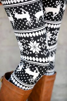 Women's Stylish High Waist Geometrical Print Christmas Leggings