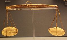"""WEIGHING THE SOUL Gold scale of """"psychostasia"""", symbolizing the weighing of the soul after death.  Mycenae, Grave Circle A, Grave III, 16th C. BC  Athens, National Archaeological Museum, Prehistoric Collection"""