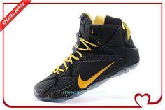 Mens Nike Lebron 12 Black/Yellow On Sale