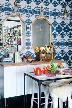 How To Bring Bright, Bold Colors Into Your Space #refinery29  http://www.refinery29.com/office-design-tips#slide13  Mirror Mirror The power of mirrors is great: Place them across from a window to brighten a space or add a few to create the illusion of a bigger apartment. But did you know you can make your own? This DIY project from Design*Sponge is easy and awesome.