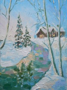New Year Greetings card for Gift Custom Authors Artwork Oil Painting Still Life Landscape Winter Pine Tree Village in Snow Frozen River Art