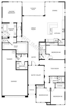 4 Beds, 3 Baths - Single Story New Homes New House Plans, Dream House Plans, Small House Plans, House Floor Plans, Building Plans, Building A House, The Plan, How To Plan, Floor Plan 4 Bedroom