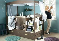 Crib with storage installed and trundle bed underneath for parents on rough nights with baby...amazing.