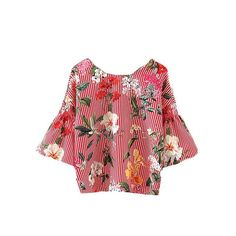 Tie Neck Vertical Striped Floral Print Top Red Boat Neck V Back 3/4 Sleeve Shirt Summer Women Blouse