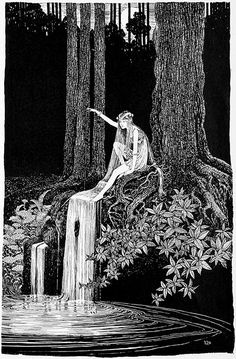 illustration ☘ ida rentoul outhwaite ~ the waterfall fairy the enchanted forest encre de chine crayon pencil Art Et Illustration, Illustrations, Jugendstil Design, Arte Obscura, Fairytale Art, Wow Art, Fairy Art, Oeuvre D'art, Faeries