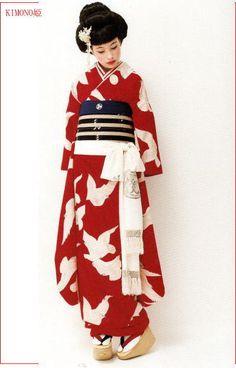 Kimono-Hime style red kimono with birds and striped obi