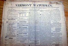 10 Original 1825 Vermont Watchman Newspapers Montpelier VT 187 Years Old   eBay